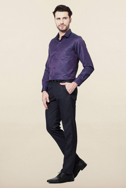Peter England Purple Printed Slim Fit Shirt