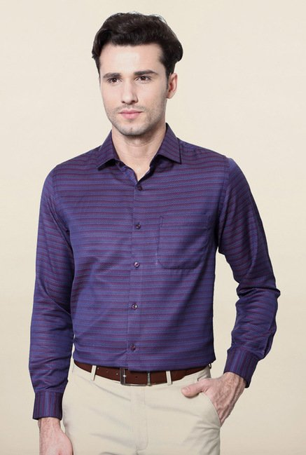 Peter England Purple Printed Casual Shirt