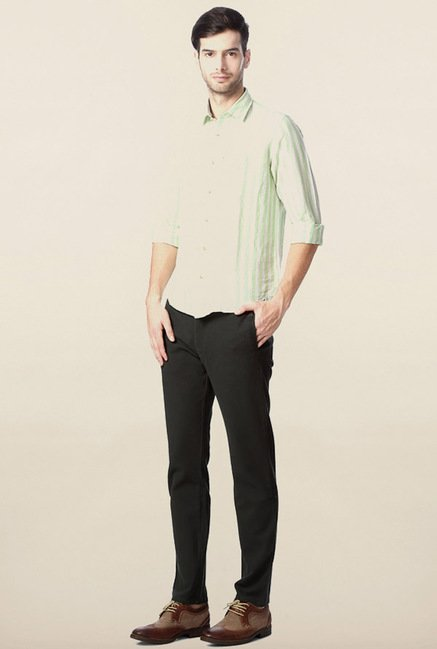 Peter England Green Striped Casual Shirt