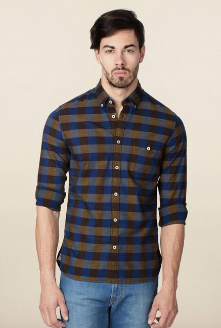 Peter England Blue & Grey Checks Casual Shirt