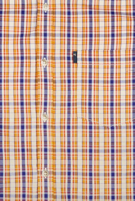 Peter England Orange Checks Casual Shirt