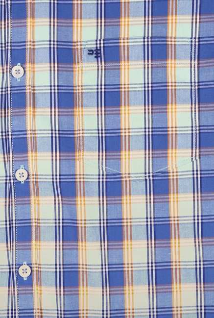 Peter England Blue Cotton Casual Shirt