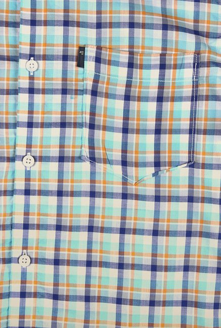Peter England Turquoise Checks Casual Shirt
