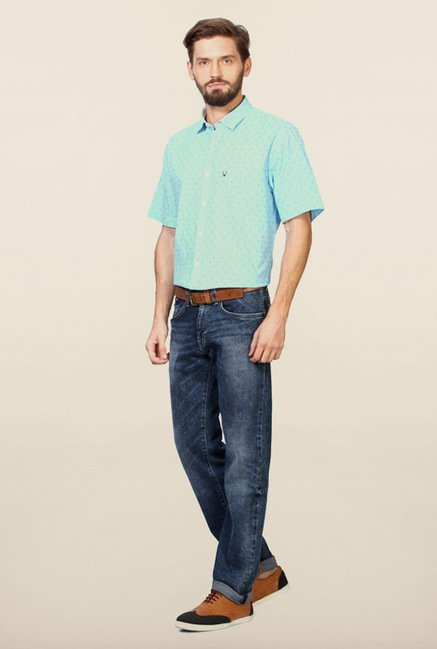 Allen Solly Turquoise Gingham Checks Shirt