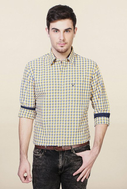 Allen Solly Yellow Checks Casual Shirt