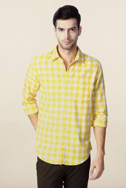 Peter England Yellow Checks Casual Shirt