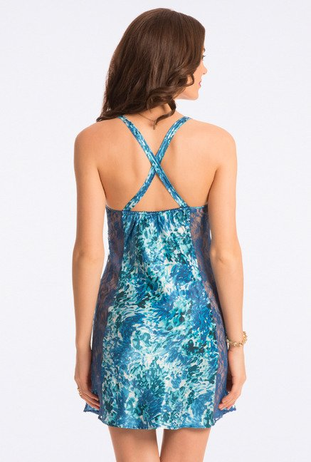 Pretty Secrets Misty Blue Printed Chemise