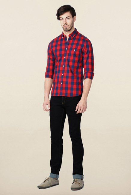Peter England Red Plaids Checks Casual Shirt