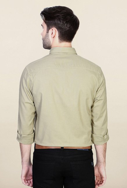 Peter England Olive Solid Casual Shirt