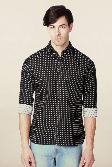 Peter England Black Printed Casual Shirt