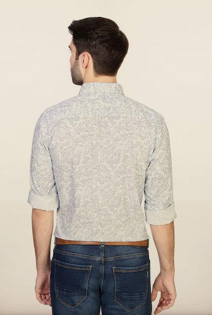 Peter England White Printed Casual Shirt