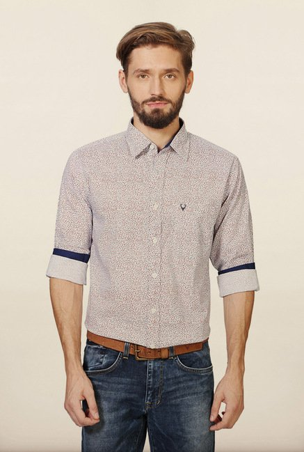 Allen Solly Purple Printed Casual Shirt