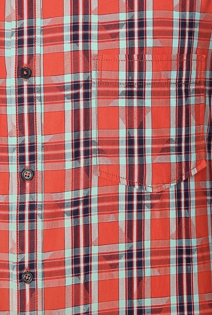 Peter England Red Checks Slim Fit Shirt
