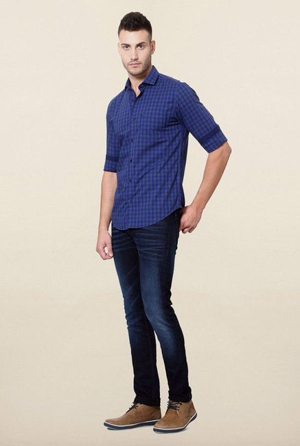 Peter England Blue Checks Cotton Casual Shirt