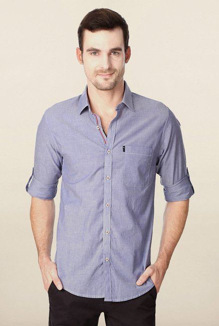 Peter England Blue Solid Slim Fit Shirt