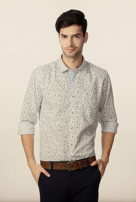 Peter England White Printed Slim Fit Shirt