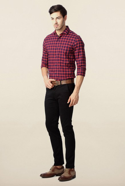 Peter England Red Checks Casual Slim Fit Shirt