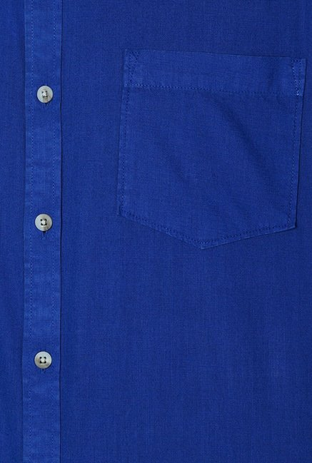 Peter England Dark Blue Solid Casual Shirt