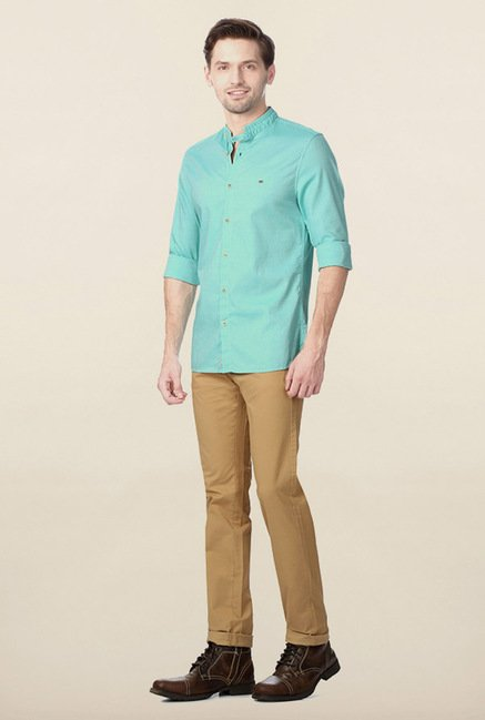 Peter England Turquoise Solid Shirt