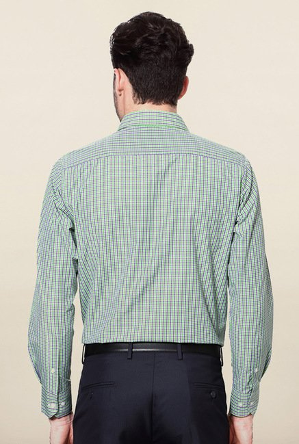 Peter England Green Micro Checks Casual Shirt