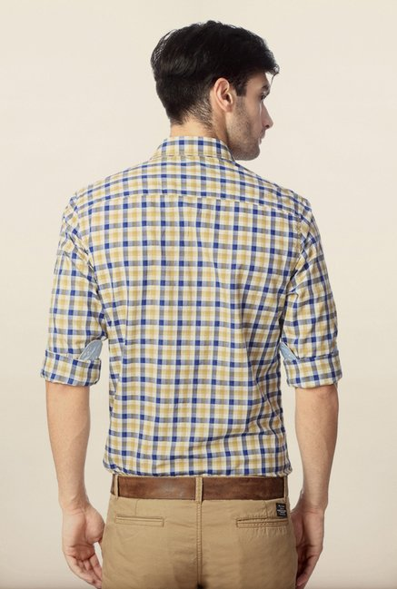 Peter England Blue & Brown Checks Cotton Shirt