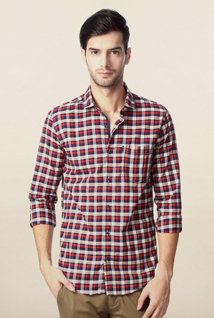 Peter England Navy & Red Checks Casual Shirt