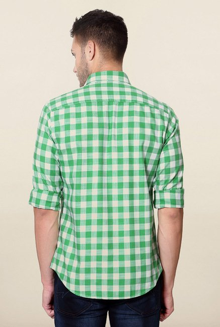 Peter England Green Gingham Checks Casual Shirt