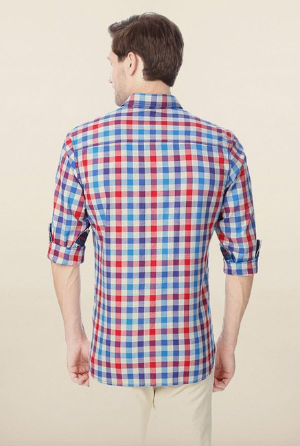 Peter England Multicolour Gingham Checks Casual Shirt