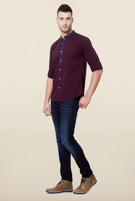 Peter England Maroon Solid Shirt