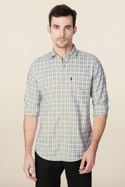 Peter England Green & Beige Checks Casual Shirt