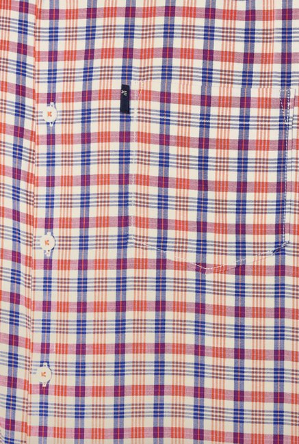 Peter England Red & Blue Checks Shirt