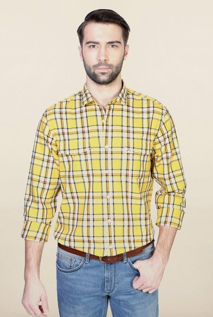 Allen Solly Yellow Casual Shirt