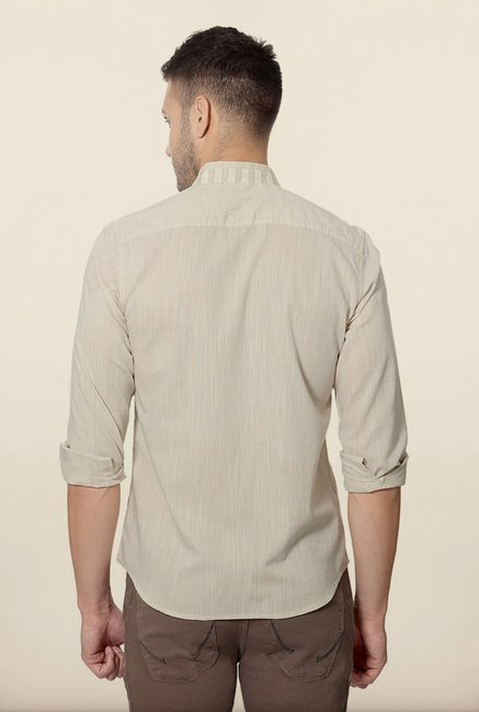 Peter England Beige Striped Casual Shirt