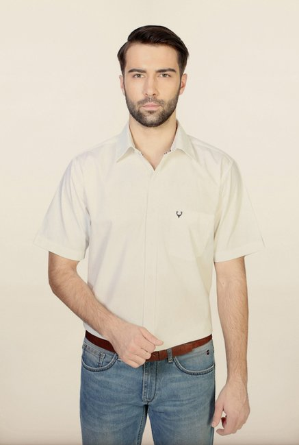 Allen Solly White Solid Casual Shirt