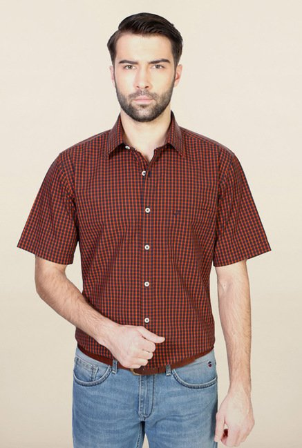 Allen Solly Orange Checks Casual Shirt