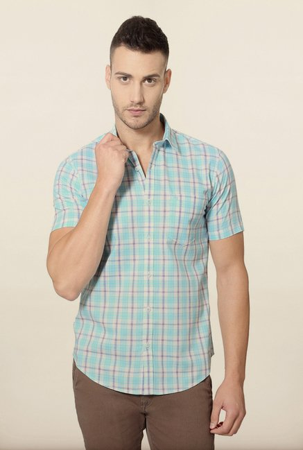 Peter England Turquoise Checks Slim Fit Shirt