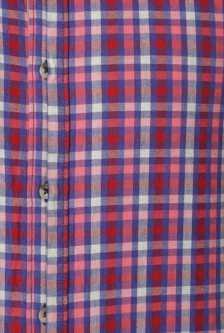 Peter England Blue & Red Checks Slim Fit Casual Shirt