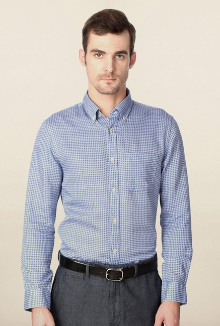 Peter England Blue Printed Casual Shirt