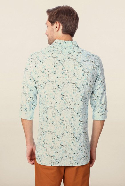 Peter England Green Printed Casual Shirt