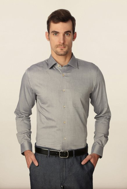 Peter England Grey Slim Fit Shirt