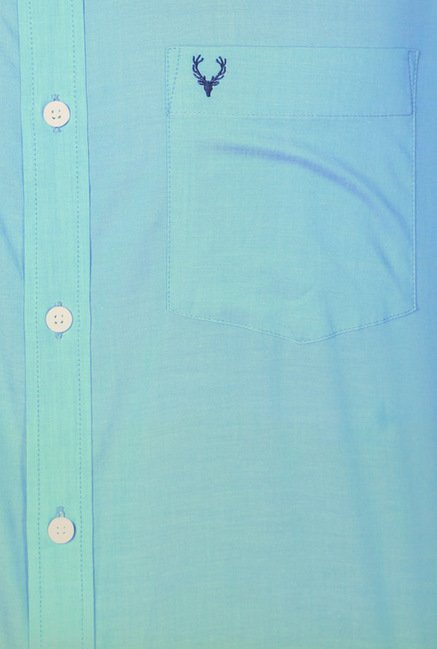 Allen Solly Turquoise Solid Casual Shirt