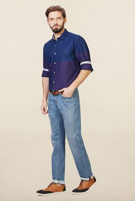 Allen Solly Navy Striped Casual Shirt