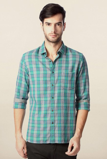 Peter England Grey Checks Casual Shirt