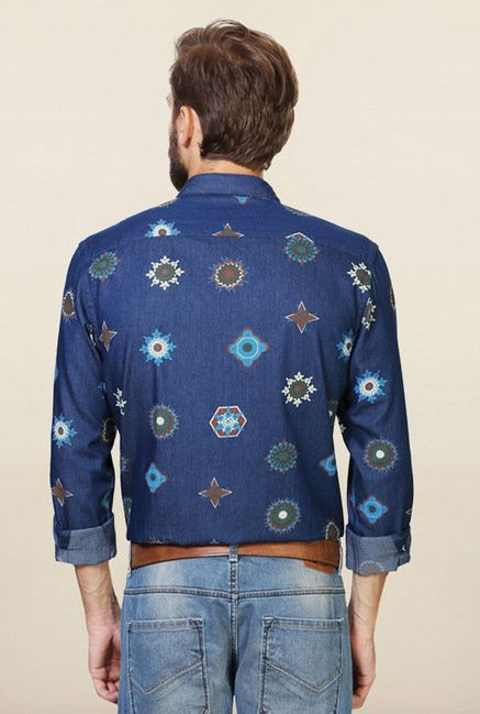 Allen Solly Blue Printed Cotton Shirt