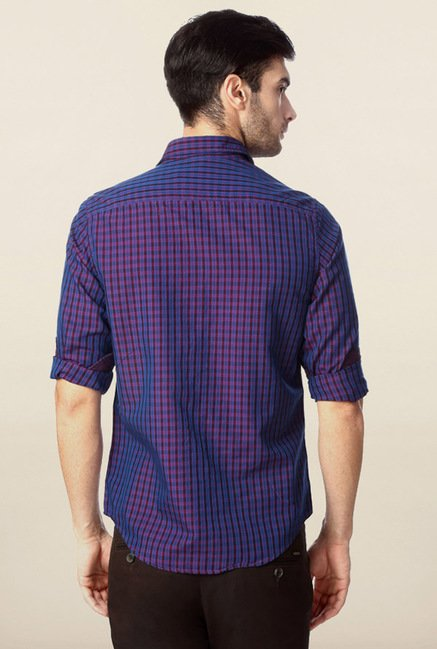Peter England Purple & Maroon Checks Casual Shirt