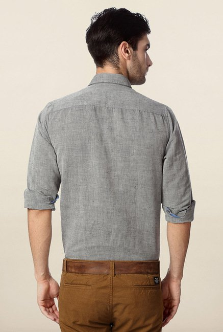 Peter England Grey Solid Shirt