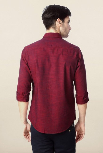 Peter England Maroon Solid Casual Shirt