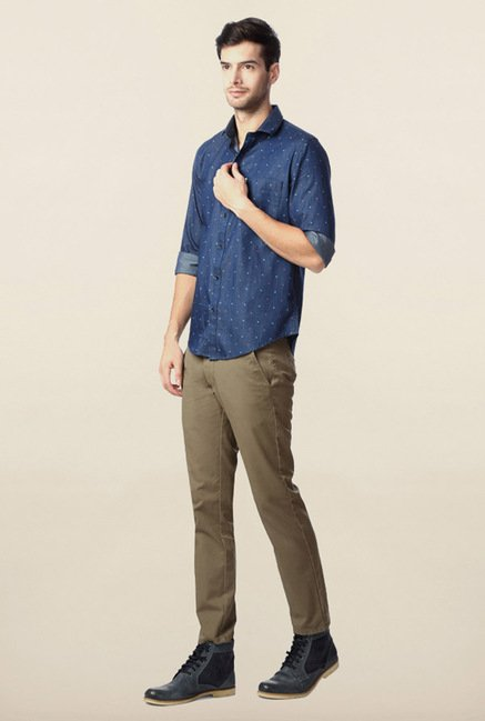 Peter England Blue Casual Slim Fit Shirt