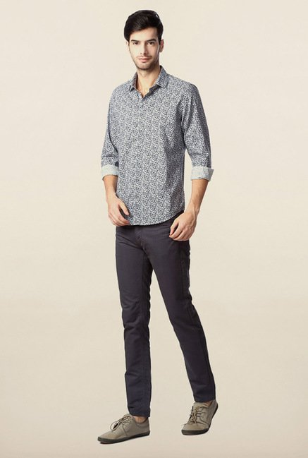 Peter England Grey Printed Casual Shirt
