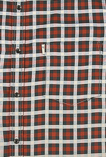 Peter England Black & Red Checks Casual Shirt